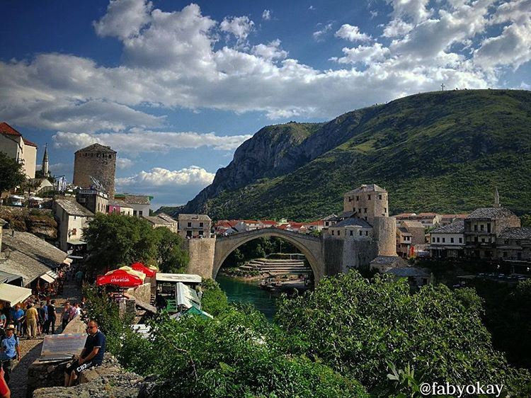 mostar oldbridge nature skyline cocacola photooftheday photos picture... (Old Bridge, Mostar.)