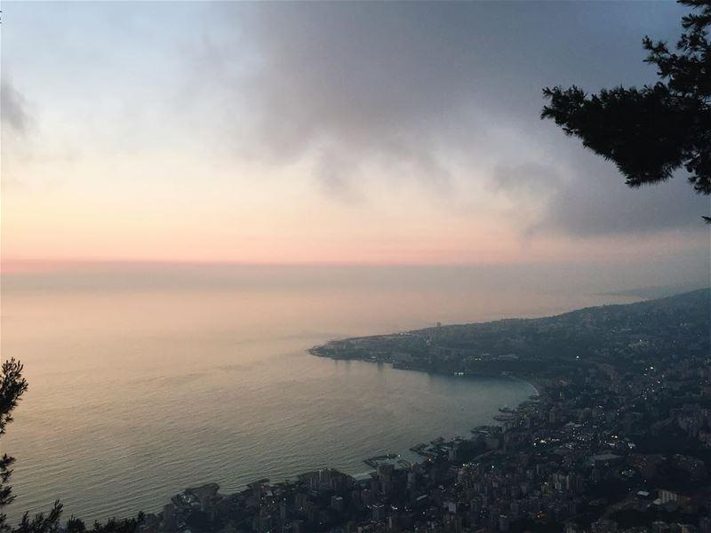 Overlooking Jounieh coastline from Harissa 🌅 livelovelebanon... (Harîssa, Mont-Liban, Lebanon)
