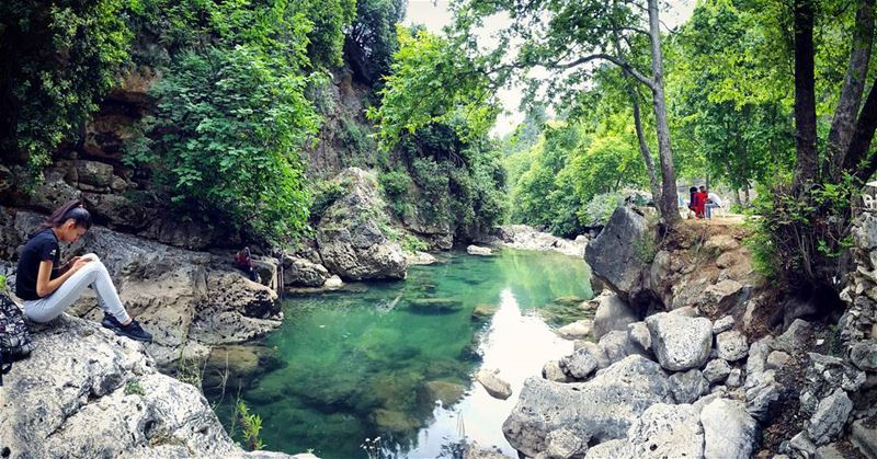 river rocks green trees chill relax summer vibes cool water views of... (Yahchouch)
