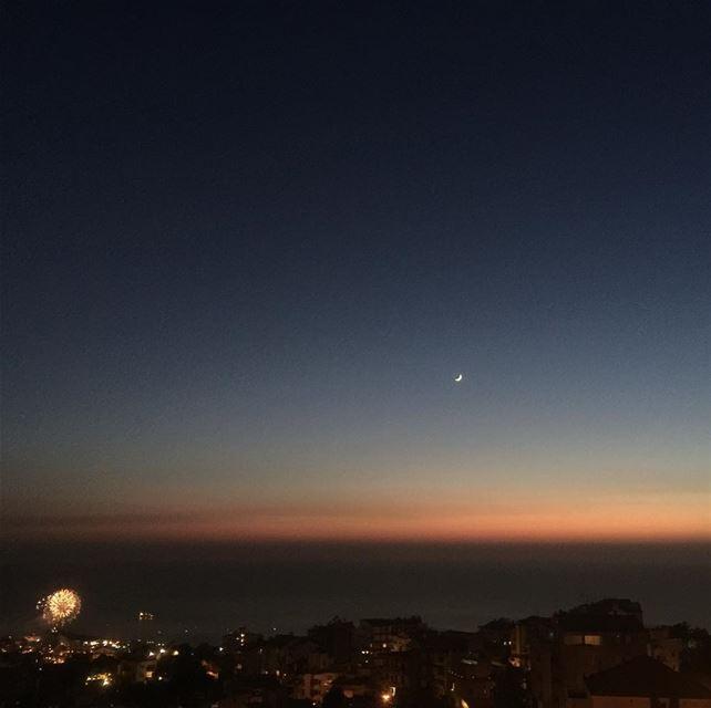 moon cresent horizon fireworks instalike sky mediterranean ...