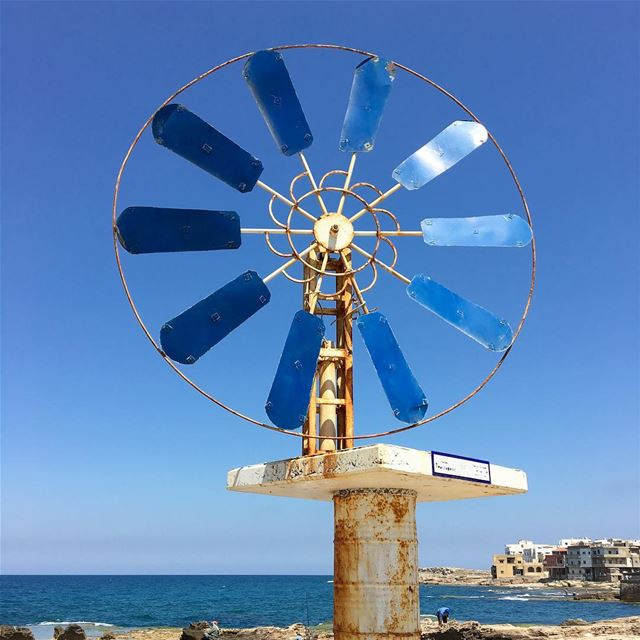 The windmills of Enfeh, Lebanon 🇱🇧 view from @albaydar.anfeh ........ (Anfeh - Koura sea)