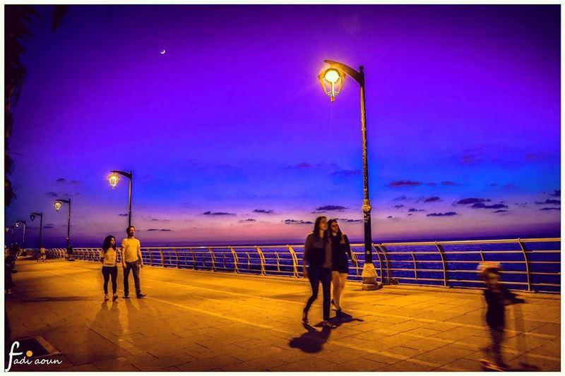 photo fadiaounphotography beirut manara Lebanon sea sky night ...