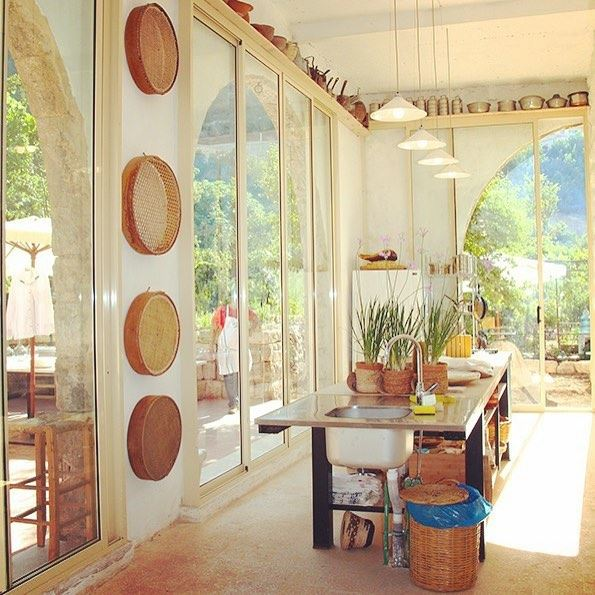 The kitchen in Beit Douma: a light-filled space where breakfast is served,...