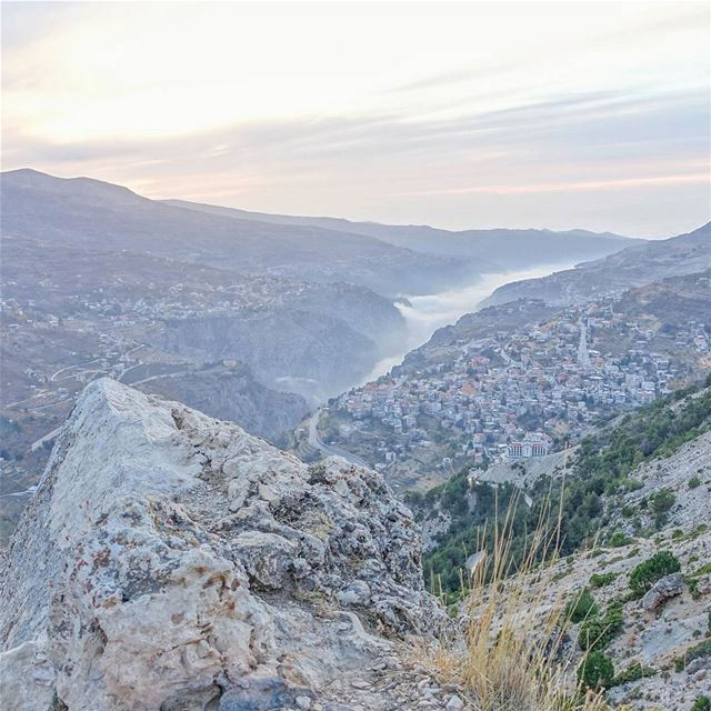 Think I'll just sit on this rock and watch the sunset over Bcharre.... (Bcharreh, Liban-Nord, Lebanon)