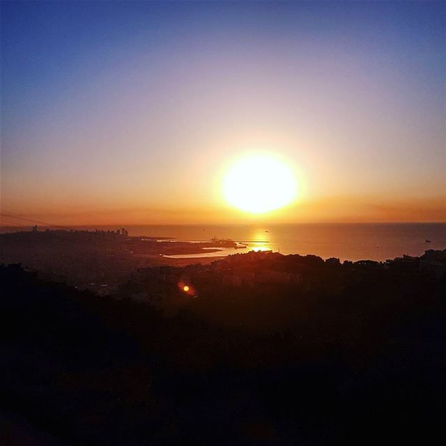 The sun, the sea and shades of Beirut city sunset ig_sunset sunset_pics... (Matn District)