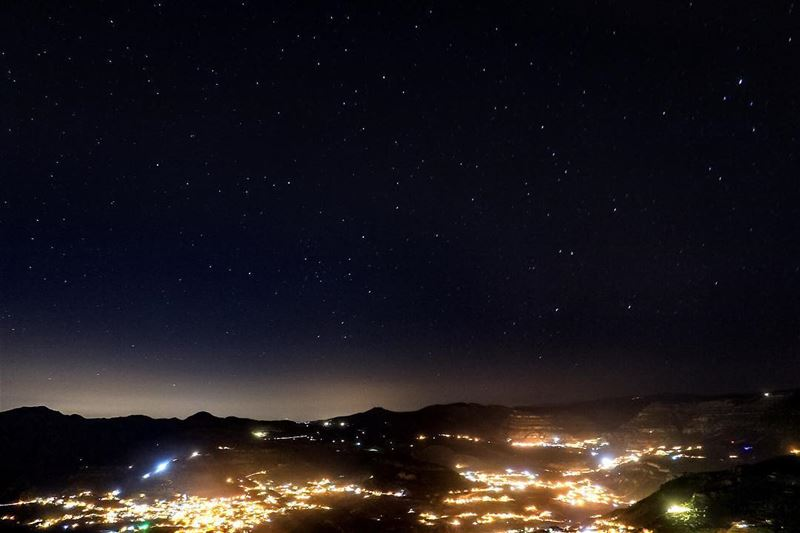 There was something about that night ...  sky  stars  mountains  village ... (Lasa, Mont-Liban, Lebanon)