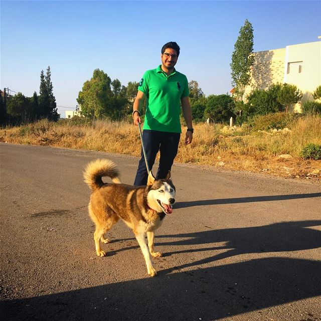 "Please don't ask me ""who's walking who?"" 😑 🐶  lebanon  koura  dog  walks... (Koura)"