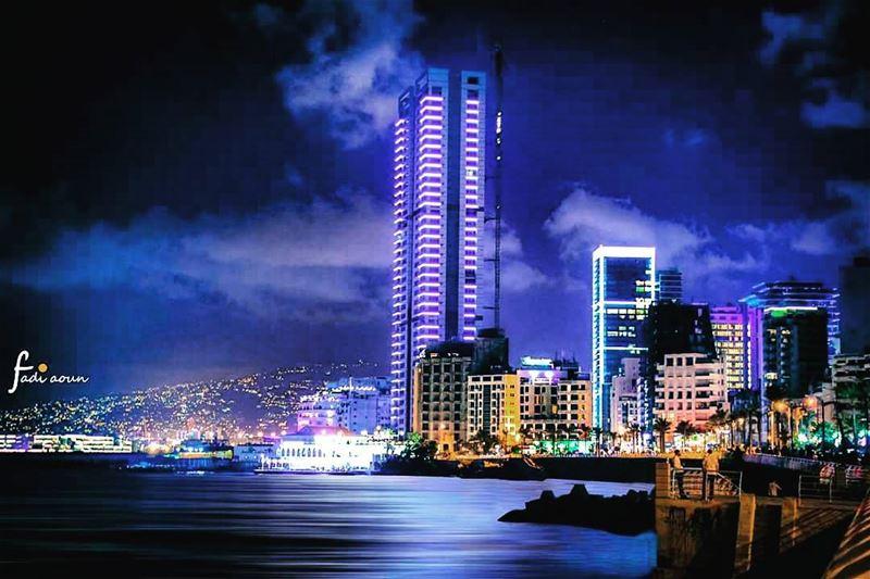 View from Manara overlooking Beirut photo beirut Lebanon night sky ...
