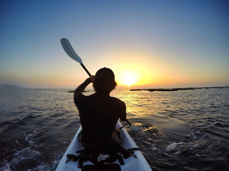 Meet me where the sky touches the sea.🌅 kayaking sunset mikesport ... (Batroûn)