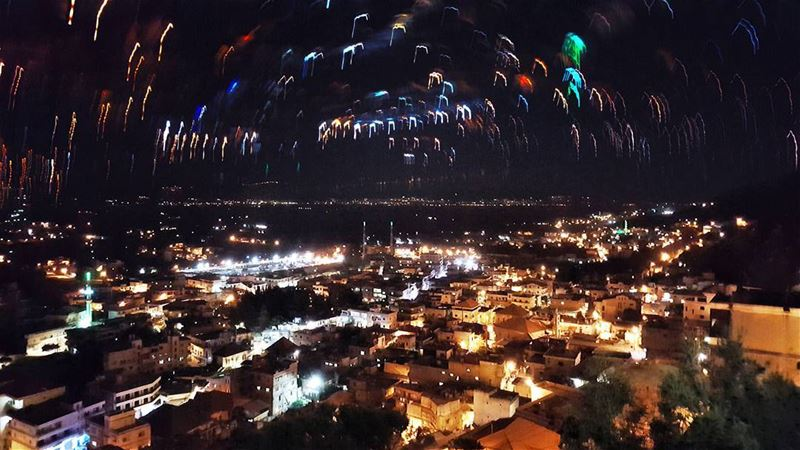 Silent Night! LiveLoveBekaa LiveLoveLebanon Colorful citylights ... (Qabb Ilyas, Béqaa, Lebanon)