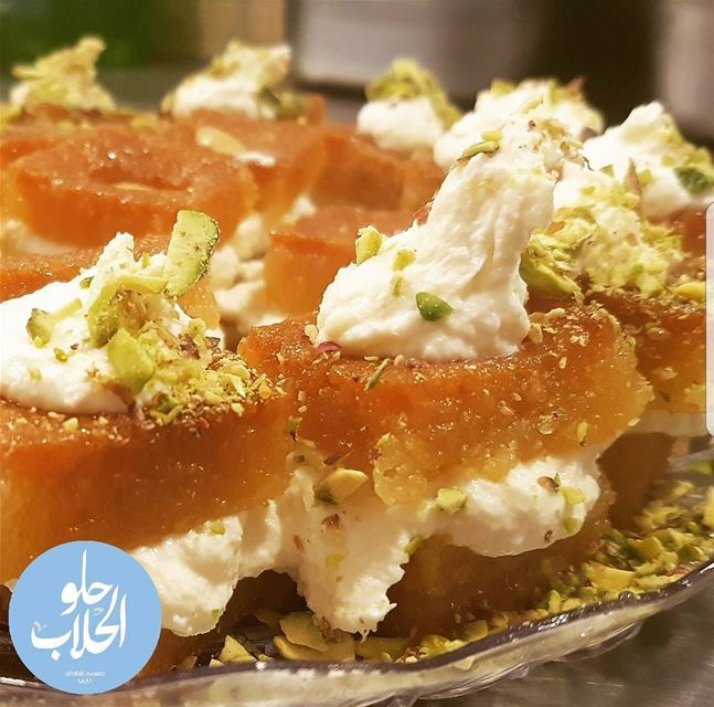 نمورة بالقشطة 👌😋🌙أو بسبوسة بالقشطة😍 Delightful fusion رمضان_كريم نمو (Abed Ghazi Hallab Sweets)