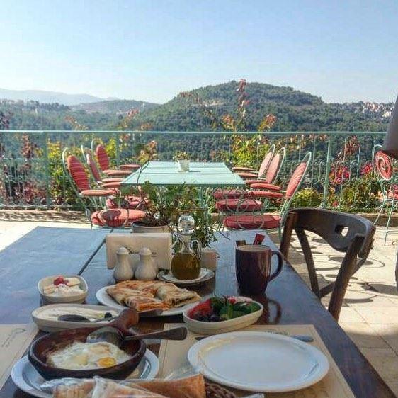 Delicious Lebanese breakfast with an amazing view at @deiraloumara ... (Deir al Oumara)