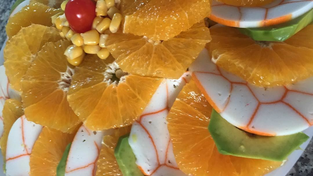 Crab salad fresh colorful colors vegetables fruits orange avocado... (Fanar, Mont-Liban, Lebanon)