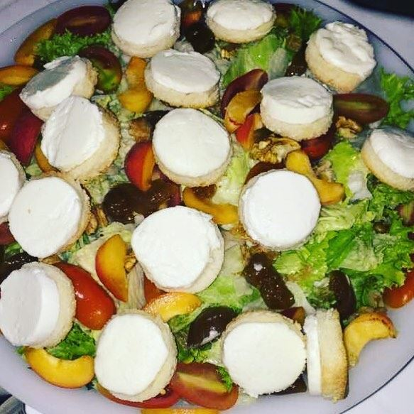 Goat cheese salad fresh lettuce fruits vegetables green colorful ... (Fanar, Mont-Liban, Lebanon)