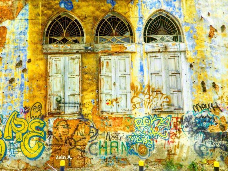 good evening colorful windows three 3 old graffiti draw travel ... (Beirut, Lebanon)