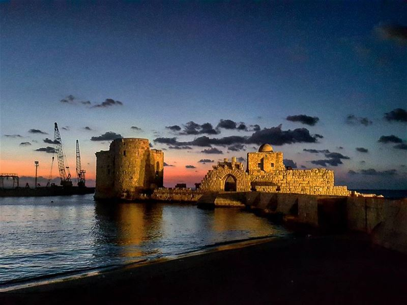 The most precious time of the day 🌅  Sidon  Sunset  SeaCastle  Landscape... (Sidon Sea Castle)
