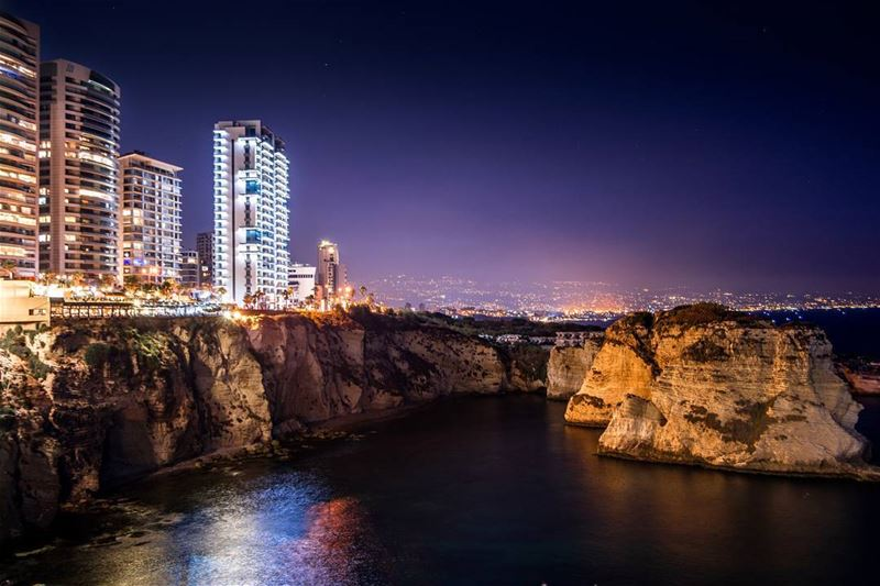 .Beautiful nightlife of beirut and the pigeon rocks of Rawche. Who wants... (Beirut, Lebanon)