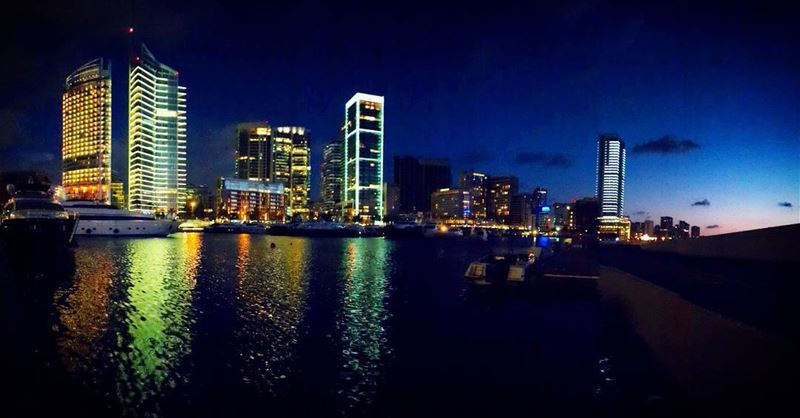 beirut night life skyscraper lights water reflection yacht awesomeshots... (Zaitunay Bay)