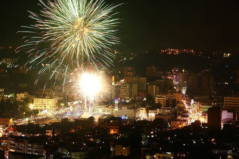Nabatieh city last night 🎇🎆25/06/2017.... night nightphotography... (Nabatîyé)