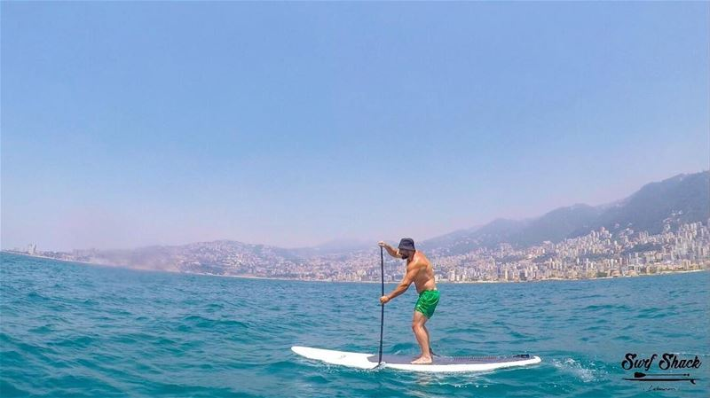 A good morning paddle workout 💪🏼... photooftheday jounieh bay ... (Surf Shack Lebanon)