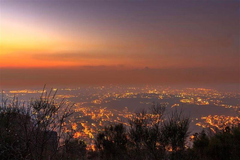 aley sunset sky twilight beirut citylights landscape nature... (`Alayh, Mont-Liban, Lebanon)