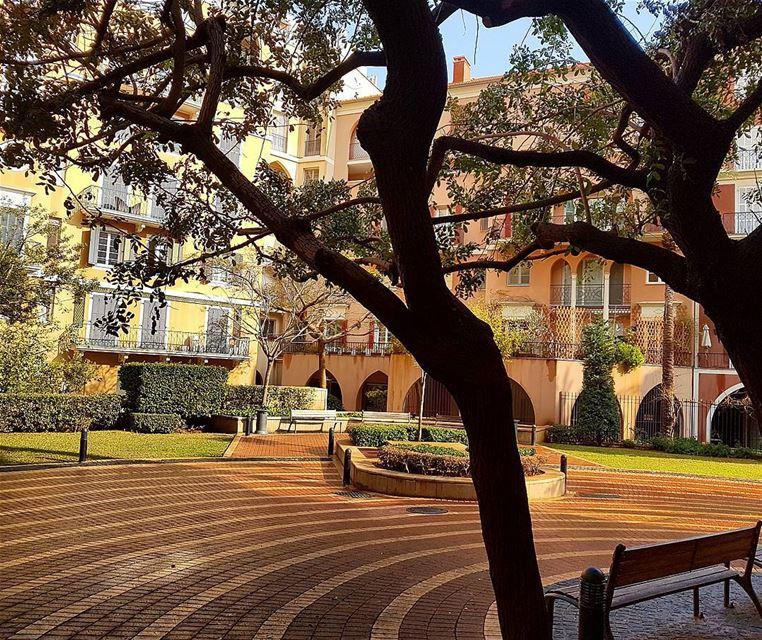 Goodmorning❤❤❤ garden bench trees morning houses goodvibes ... (Beirut, Lebanon)