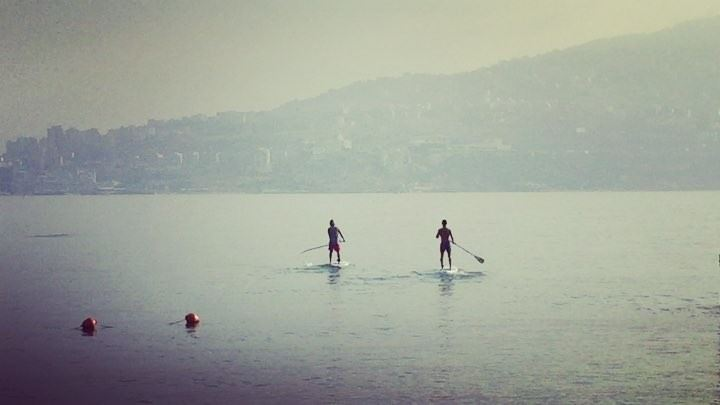 Morning paddle with @rudy.antonios and @ronyaouad7:00 A.M.Crossing the... (Surf Shack Lebanon)