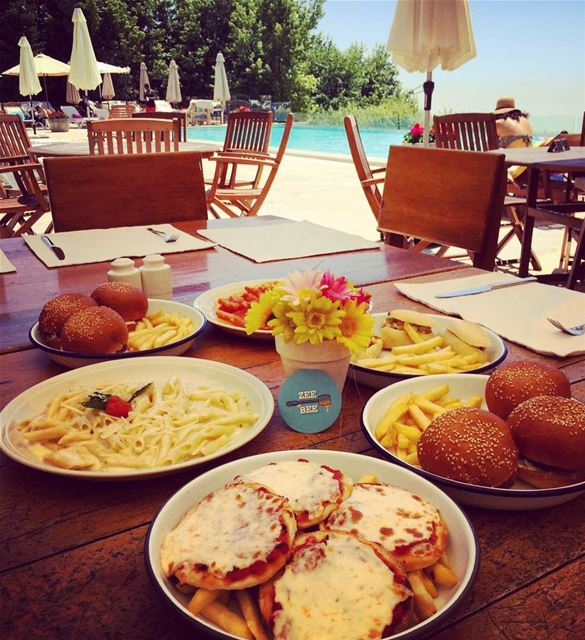 Pool Menu at @terrebrunehotel... pool poolday food pizza burger ... (Terre Brune Faqra)