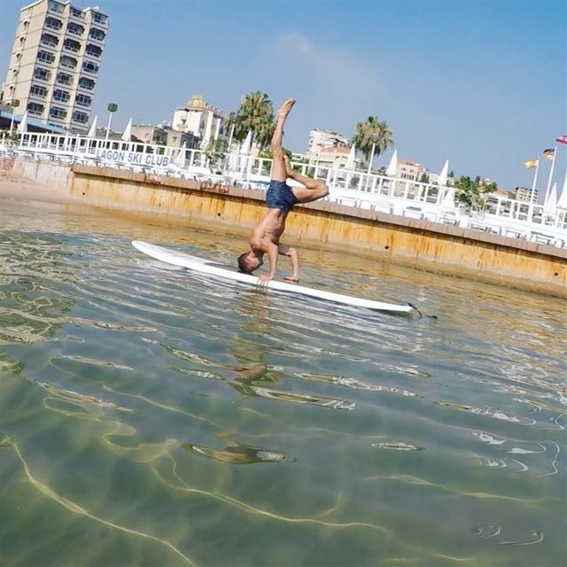 That balance! 😯 super strong core @rudy.antonios 💪🏼--SUP is a... (Surf Shack Lebanon)