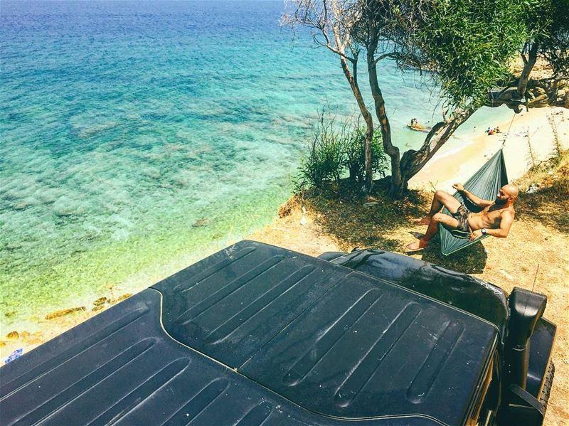 Catch the sun, walk in the sand breath the salty air..🌎☀️🌊 hammock ... (El Berbâra, Mont-Liban, Lebanon)