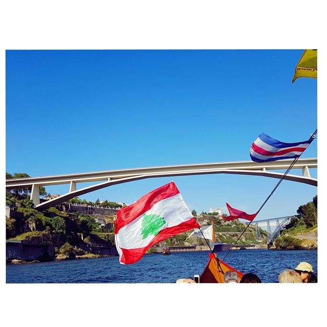 Flying Lebanese Flag over Douro river~The river is called douro which... (Douro River)