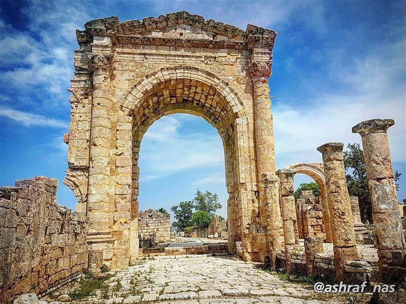 إني اخترُتك يا وطنيحُبّاً وطواعية...إني اخترتك يا وطنيسِراً وعلانية...إ (Roman ruins in Tyre)