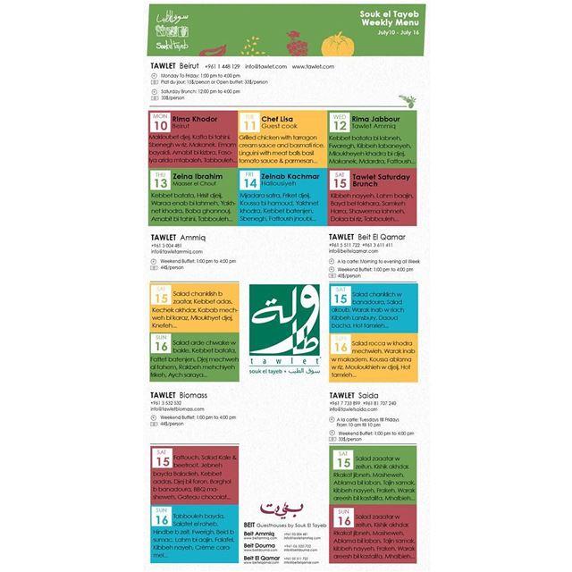 Here is next week's menu of all Tawlets... Sahtein! menu ...