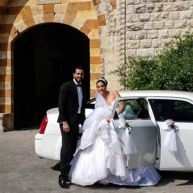 Caught a bride (and groom) getting into their carriage and off into the... (Beiteddine Palace)
