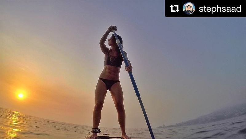 Take your fitness out in the sea 💪🏼With SUP all your muscles are... (Surf Shack Lebanon)