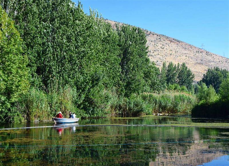 HaPpY SuNDaY ♥..... reflection lake mountains trees boat ...