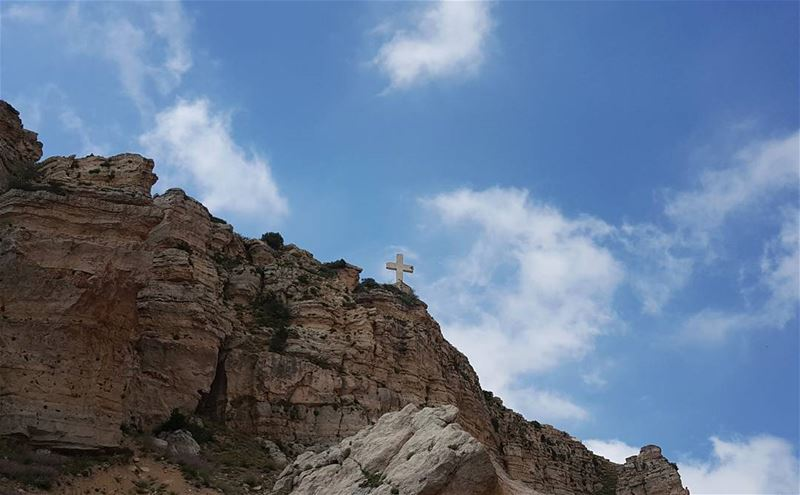 A CROSS between earth and sky...... cross christianity akoura ... (Akoura, Mont-Liban, Lebanon)