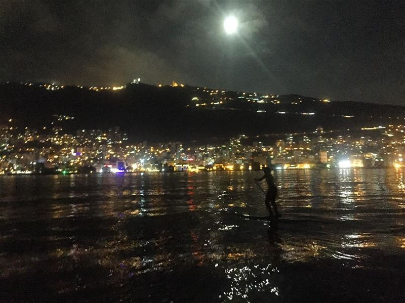 Full Moon Paddle in Jounieh Bay 🌕💛-- RSVP for tonight's Full Moon Tour.... (Surf Shack Lebanon)