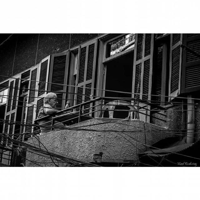 bnw  man  balcony  wires  blackandwhite  street  windows  door ... (Beirut Bourj Hammoud)