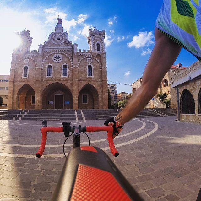 Start your day with a ride @livelove.batroun on your @livelove.bikes by @nady83 (Saint Estephan Church)