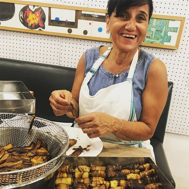 Liza Maalouf finishing preps for tomorrow! Liza will be our guest chef at...