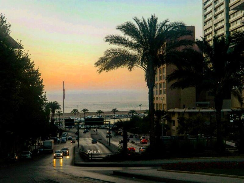 palmtrees sunset sea streetphotography cars out outdoors noperson ... (Minet el Hosn)