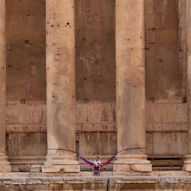 """Not your average place to hang a hammock"" hikeman travelphotography ... (Baalbeck, Béqaa, Lebanon)"