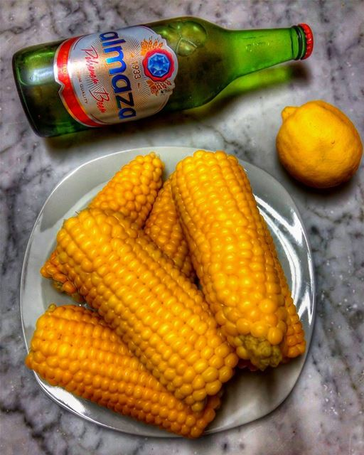 🌽🍋🍺 corn vegetables beer beertime yummy yum nomnom delicious tasty... (Beirut, Lebanon)