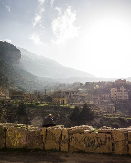 Somewhere in the mountains of Lebanon, we paused on this bridge to watch a... (Mount Lebanon)