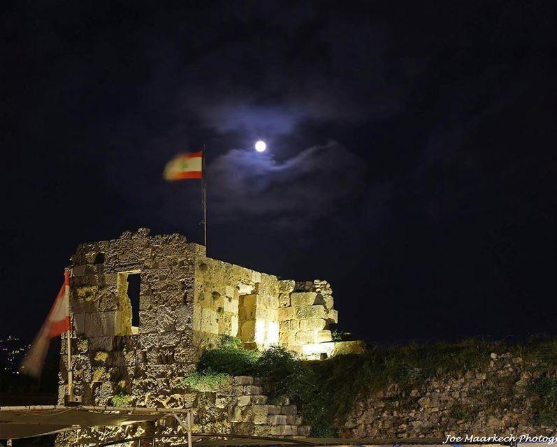 Byblos...❤️ byblos castle lebaneseflag moon clouds igers lebanon ... (Byblos - Jbeil)