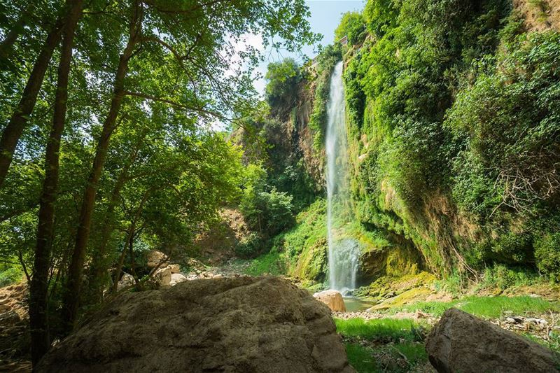 Greens and water letsgosomewhere lebanon ... (Bsatin Al-Ossi Waterfalls)