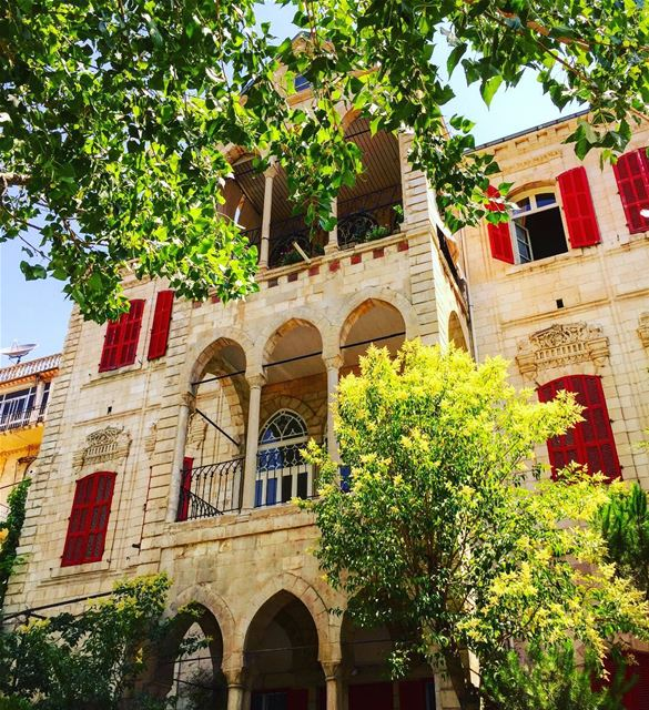 traditional levantine architecture arcades history red shutters ... (Zahlé, Lebanon)