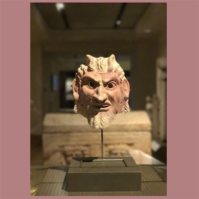 Mask of Satyr ( Legendary creature) 🎭 painted in redRoman Period (64... (National Museum of Beirut)