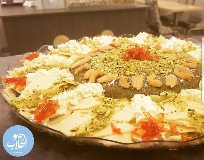 Why not halewet el jibn with mafrouke made with pistachios in the center ?... (Abed Ghazi Hallab Sweets)